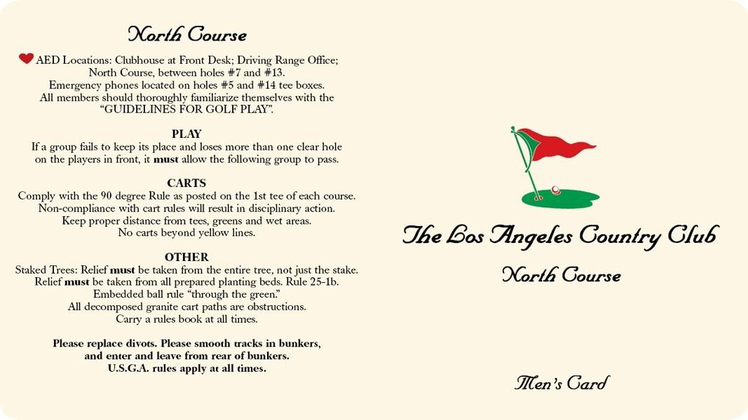 Los Angeles Country Club | Golf ScoreCards, Inc
